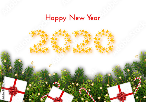 Holiday Gift Card Happy New Year 2020 Vector Stock Image
