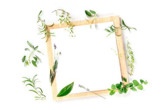 Food Design Template. A clipboard with herbs, shot from above on a white background with copyspace