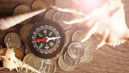 Picture of a Business Money Concept Idea Coins ,Compass and seashells