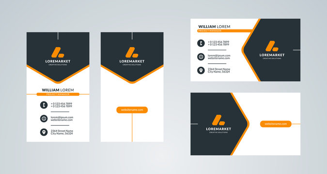 Business card template. Portrait and landscape layout. Front and back side. Vector illustration
