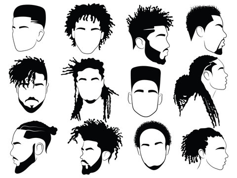 Set of afro hairstyles for men. Collection of dreads and afro braids for men. Black and white illustration for a hairdrymaker.