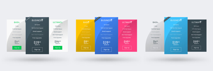 Pricing table design template for websites and applications. Set of three different color variations. Vector pricing plans. Flat style vector illustration