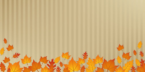 autumn orange and yellow leaves on abstract paper background vector illustration EPS10