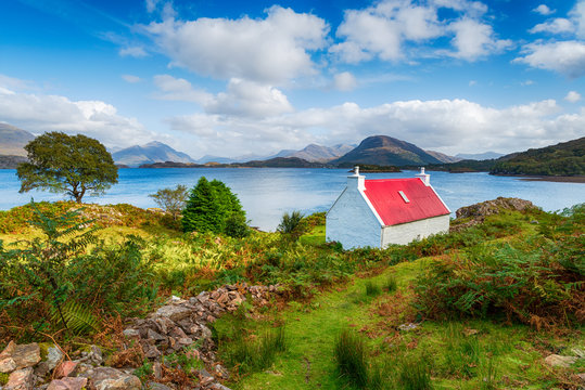 A pretty red roofed croft on the Applecross Peninsula