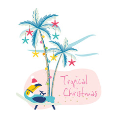Vector illustration of tropical Christmas with palm trees and toucan bird