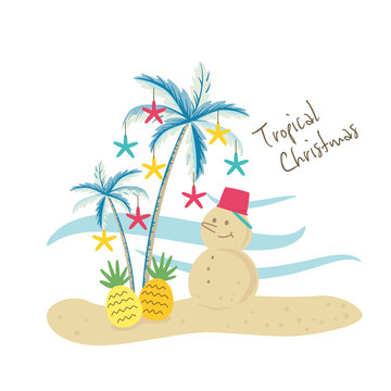 Vector illustration of tropical Christmas with palm trees and sand snowman