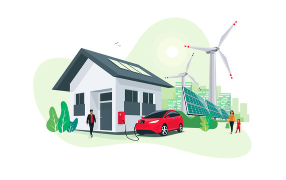 Electric car parking charging at home wall box charger station on house with a man. Renewable energy storage with wind turbines and solar panels smart city skyline in background. Vector illustration.