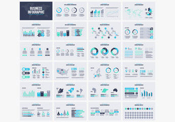 Infographic Layout Set with Blue and Green Elements