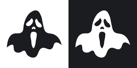Ghost silhouette, halloween illustration. Vector icon on black and white background