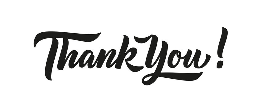 Thank you card, text or lettering. Vector script and handwritten typography. Thank you vintage style word for note, sign, banner. Isolated.