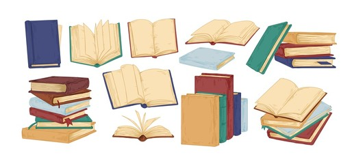 Books hand drawn vector illustrations set. Blank textbooks, hardbacks with empty pages isolated on white background. Educational material, literature realistic drawing. Personal planners, notebooks.