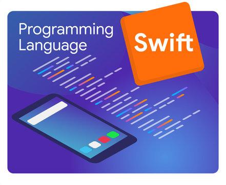 Swift mobile application programming language coding software technology vector illustration