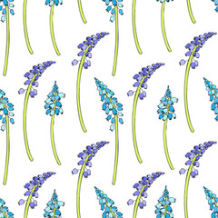 Seamless floral vector pattern Muscari flower hand drawn ink sketch isolated on white background, colorful hyacinth decorative texture for package, florist shop, cosmetic design, wedding invitation