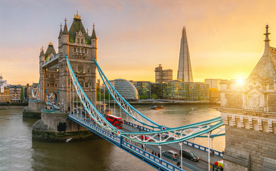 Wall Murals Bridges The london Tower bridge at sunrise