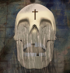 Dark art. Spiritual composition. Holy Death. Shining skull with wings and cross
