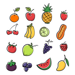 Colorful graphic fruit image, vector