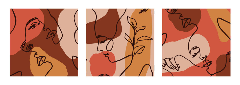 Set of Woman's Face continuous Line art. Abstract Contemporary collage of geometric shapes in a modern style. Vector