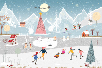 Winter landscape,Vector banner of people celebrating in Christmas night in village polar bear, boy and girl playing ice skates,kid sitting on snowboard in the winter park, teenagers skiing on the hill