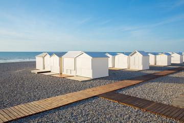 Beach cabins in Mers-les-Bains, Picardie, France