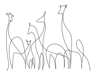 Giraffes Contour Drawing. Minimalist Jungle Animals Background. Black White Atwork Giraffe. Vector EPS 10.