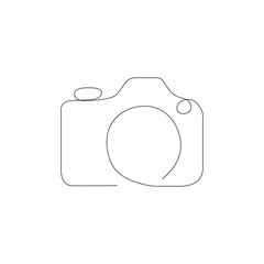 Camera One line Logo Illustration. Camers Minimalist Outline Design. Vector EPS 10.