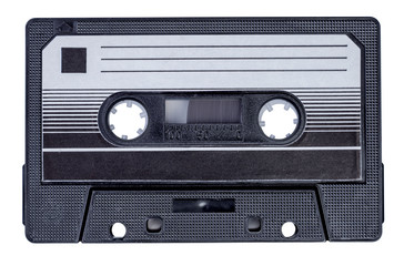 Audio cassette on an isolated white background