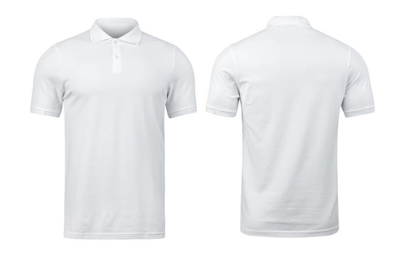 White polo shirts mockup front and back used as design template, isolated on white background with clipping path.