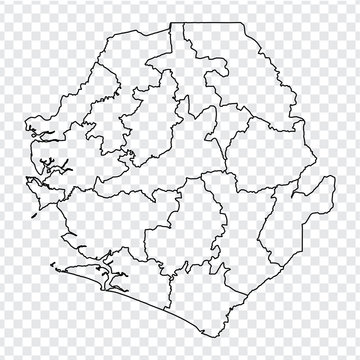 Blank map Sierra Leone. High quality map Republic of Sierra Leone with provinces on transparent background for your web site design, logo, app, UI. Stock vector.  EPS10.