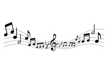 Music notes icon. Sheet music graphic sign isolated on white background. Music melody symbol. Vector illustration