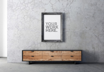 Vertical Wooden Frame Mockup on Concrete Wall
