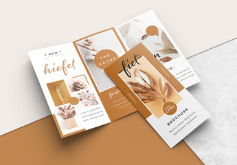 Trifold Brochure Layout with Brown Accents
