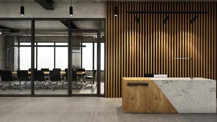 Office  reception design Modern & Loft,Concrete wood half counter in front of the wood slat,Concrete floor - 3D render