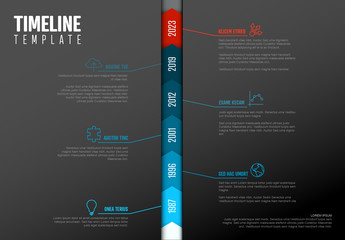 Dark Timeline Infographic with Blue Elements