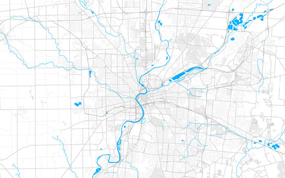 Rich detailed vector map of Dayton, Ohio, USA
