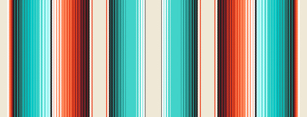 Photo sur Toile Style Boho Turquoise, Orange & Navajo White Mexican Blanket Serape Stripes Seamless Vector Pattern. Rug Texture with Threads. Native American Textile. Ethnic Boho Background. Pattern Tile Swatch Included