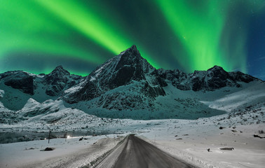 Northern lights over winter landscape