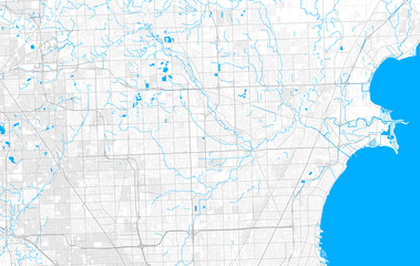 Rich detailed vector map of Sterling Heights, Michigan, USA