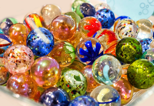 Brightly colored marbles in different shades and pattern
