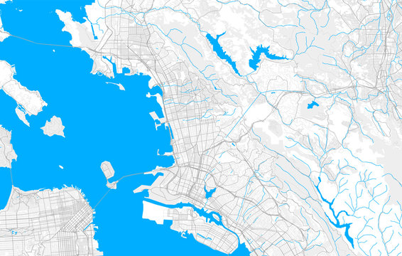 Rich detailed vector map of Berkeley, California, USA