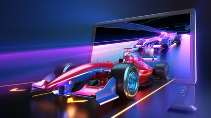 Fotobehang F1 Racing car flying out of laptop screen