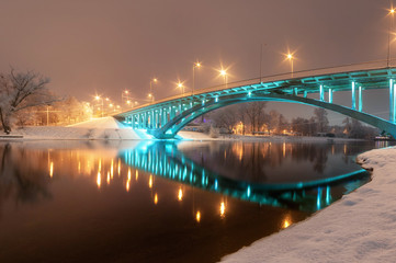 night city view, luminous  bridge. winter cityscape
