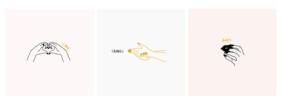 Three female logos or icons. Stylish graceful fashion illustrations. Hand drawn vector trendy set. Elegant minimalistic art. Hands in different poses. Love, band, baby.
