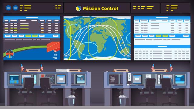 Orbital space flight mission control center room