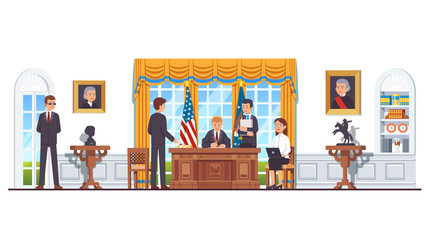 United States president in White House oval office