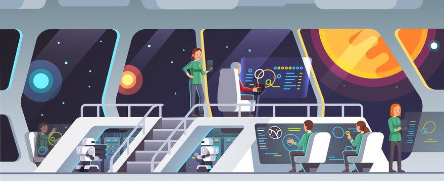 Interstellar spaceship main bridge with crew work