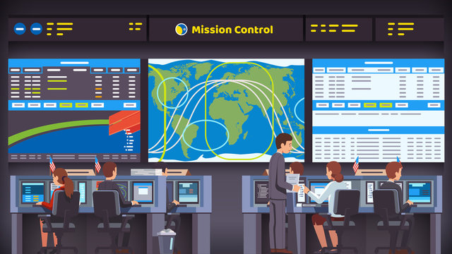 Orbital space flight mission control center room