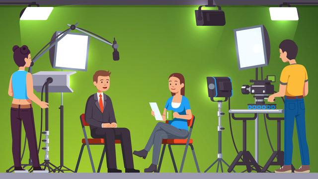 TV live news show host video interview