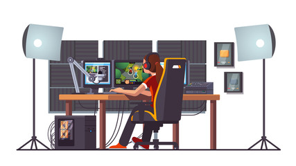 Cyber sport pro gamer woman streaming game match