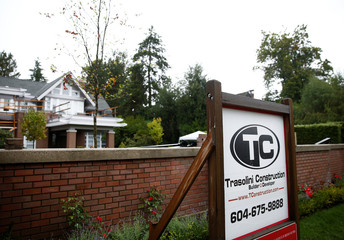 Home of Huawei Technologies Chief Financial Officer Meng Wanzhou shows a Trasolini Construction sign at 1603 Matthews Avenue in Vancouver