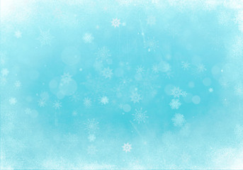 Abstract Blue Winter Background with Ice and Snow